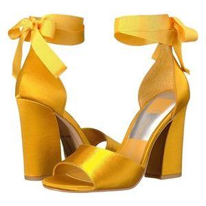 Dolce Vita Mustard Yellow Satin Block Heel Sandals
